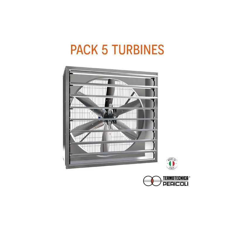 Pack 5 turbines extraction d'air 20k m3/h